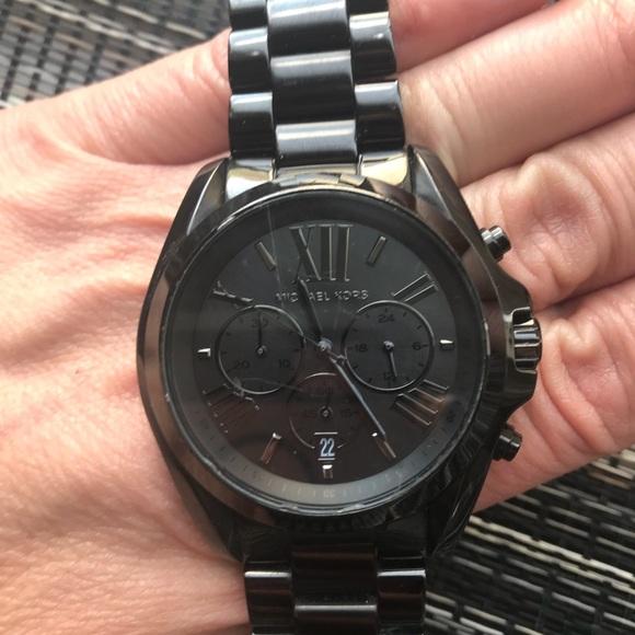a8e47ef9fb3f Michael Kors Bradshaw Black Stainless Steel Watch.  M 5b086f059a9455d3b3f9b1a4